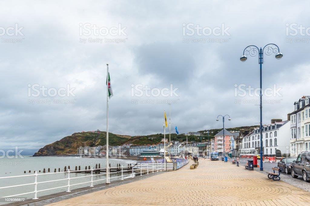 Skyline of Aberystwyth on he coast of  Ceredigion, in Wales, UK stock photo