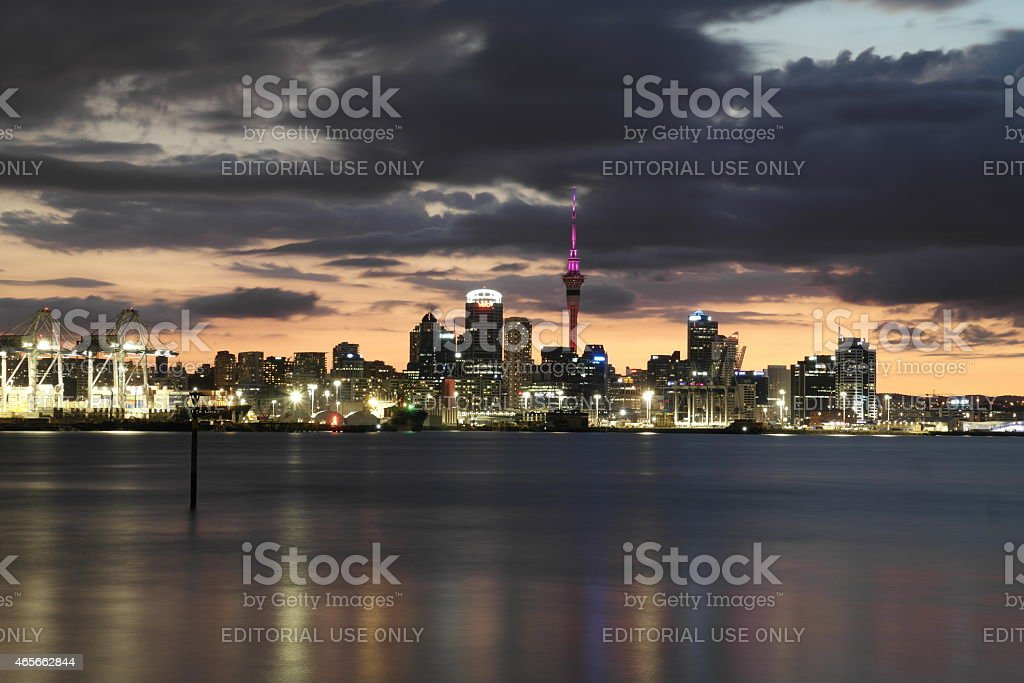 Skyline of Auckland Downtown at night stock photo