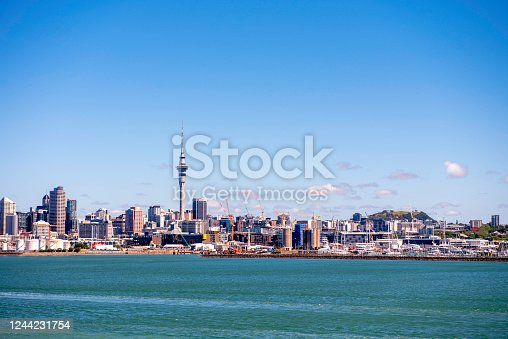 Skyline of Auckland with city central business district on Clear Sunny Day