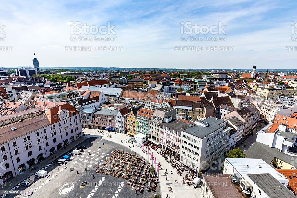 skyline of Augsburg with famous old town hall stock photo