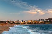 Skyline of Baker's Beach during a sunset in San Francisco, California, USA