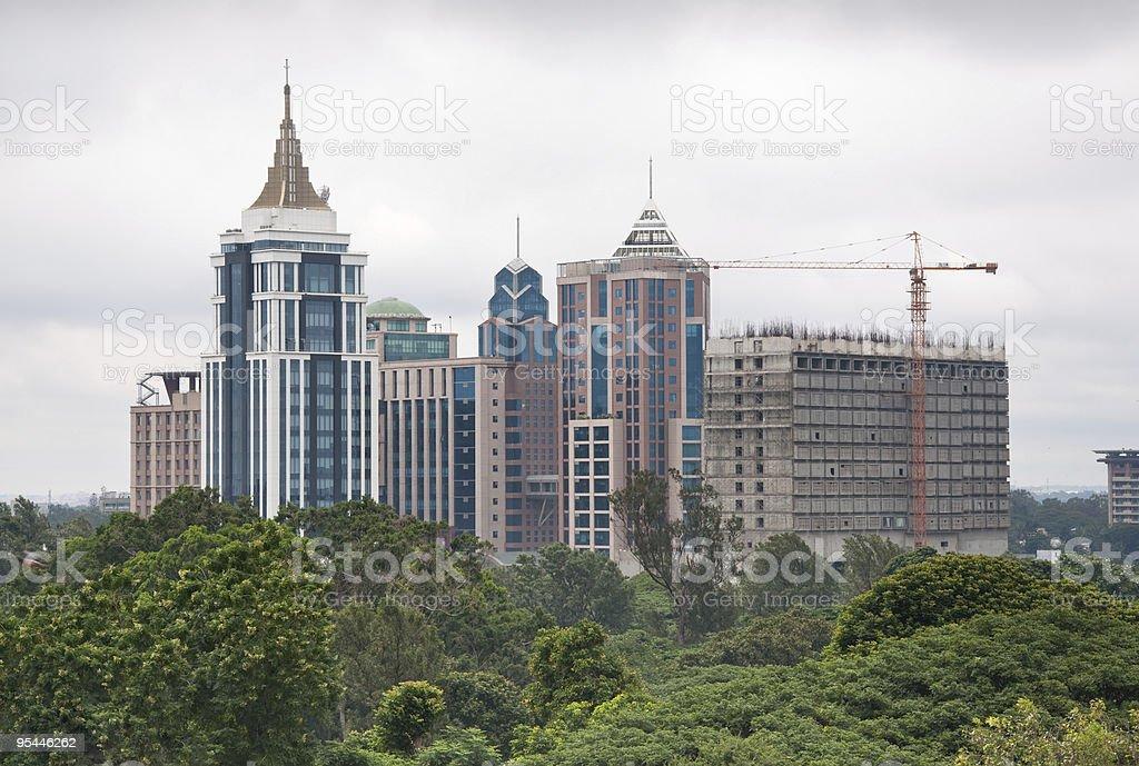 Skyline of Bangalore, India on overcast day stock photo