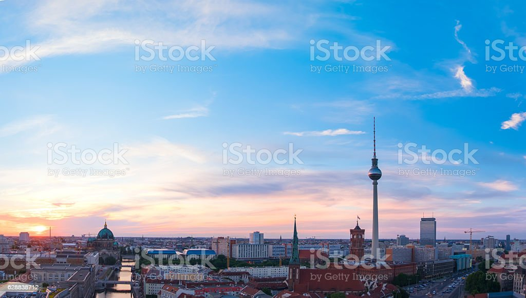 Skyline Of Berlin in Germany on a sunset stock photo