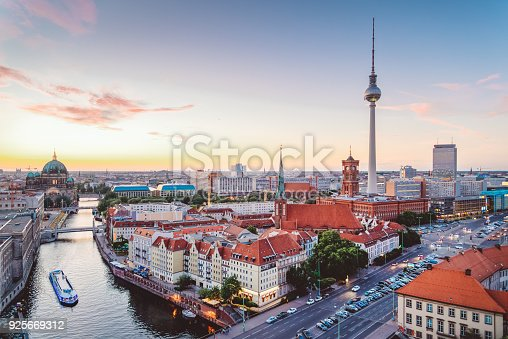 istock Skyline of Berlin (Germany) with TV Tower at dusk 925669312