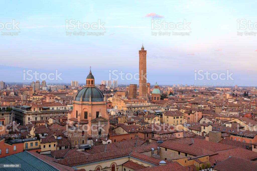 Skyline of Bologna, Italy stock photo