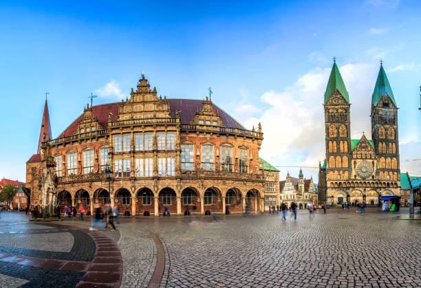 Skyline of Bremen main market square, Germany stock photo