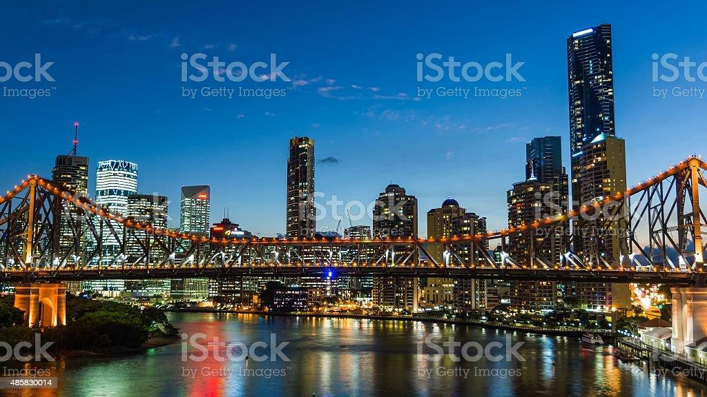 skyline of Brisbane at night stock photo