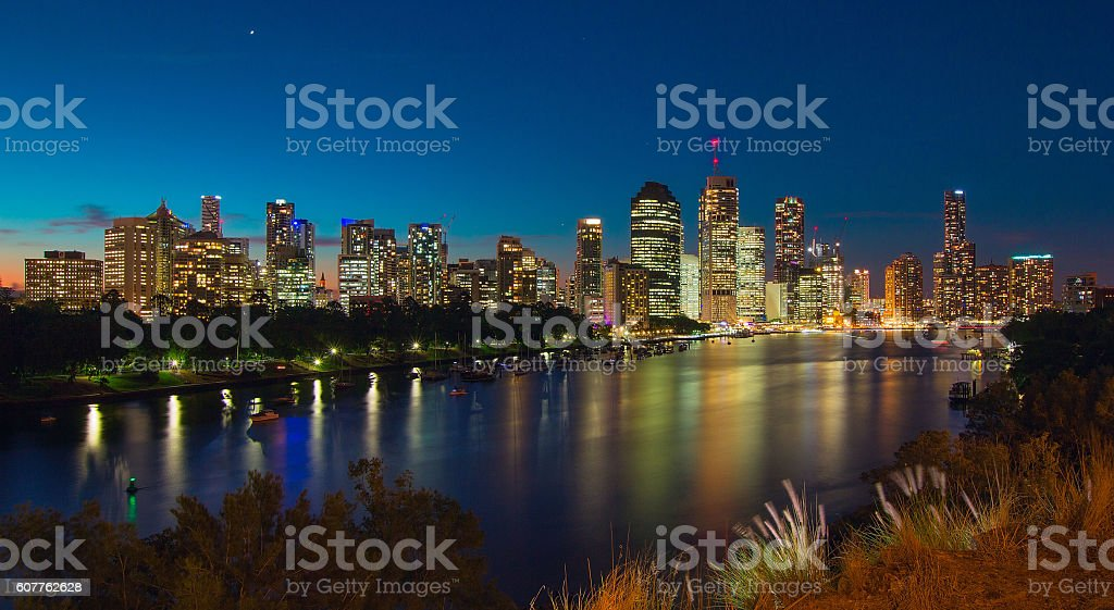 Skyline of Brisbane at Sunset stock photo