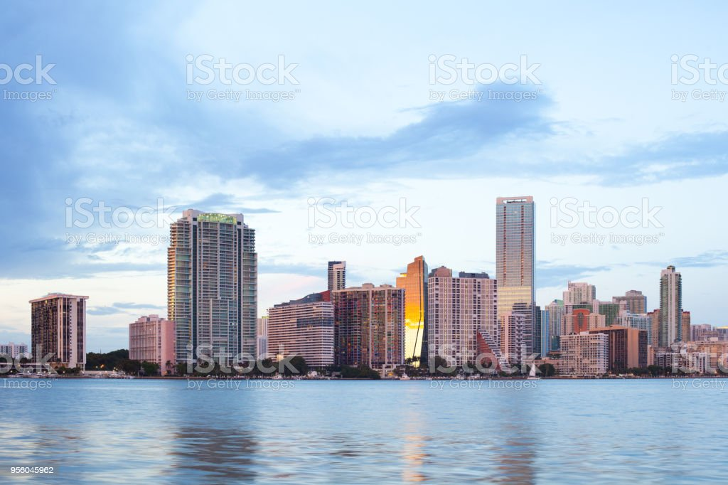 Skyline of buildings at Brickell District in Miami stock photo