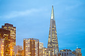 San Francisco, California, United States - March 20, 2012: Skyline of  buildings at Financial District with Transamerica pyramid building.