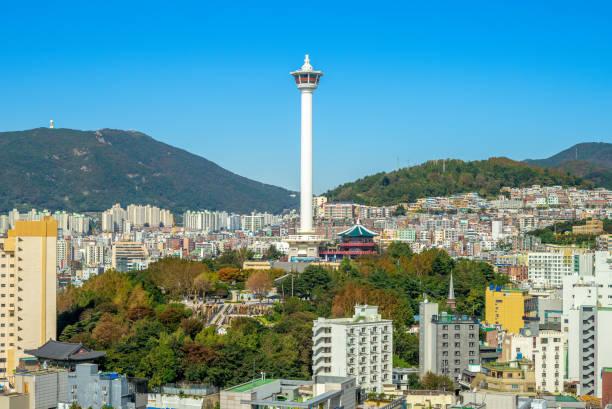 釜山のスカイライン - 釜山 ストックフォトと画像