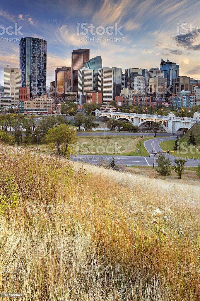 Skyline of Calgary, Alberta, Canada at sunset stock photo