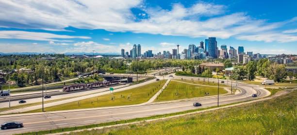 Skyline of Calgary Alberta in Canada stock photo