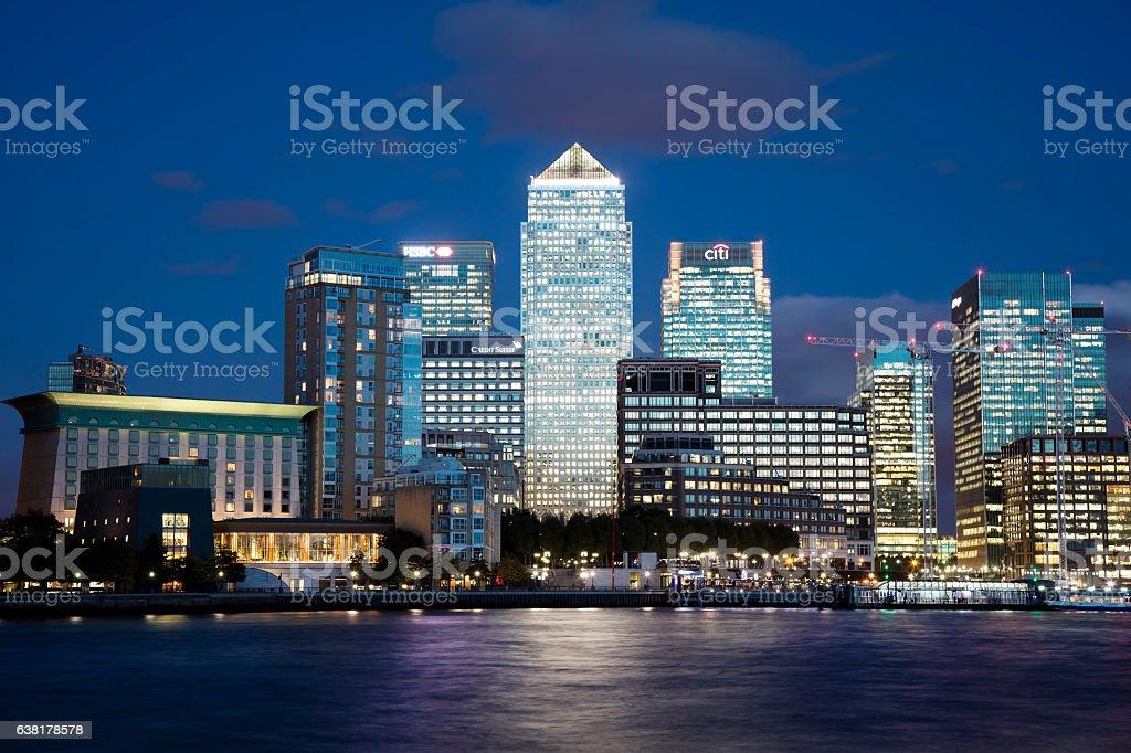 Skyline of Canary Wharf in London at Dusk, UK stock photo