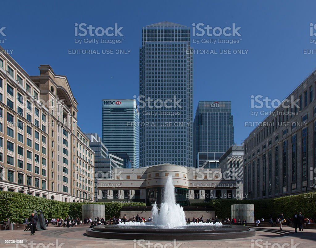 Skyline of Canary Wharf, view east from Cabot Square. stock photo