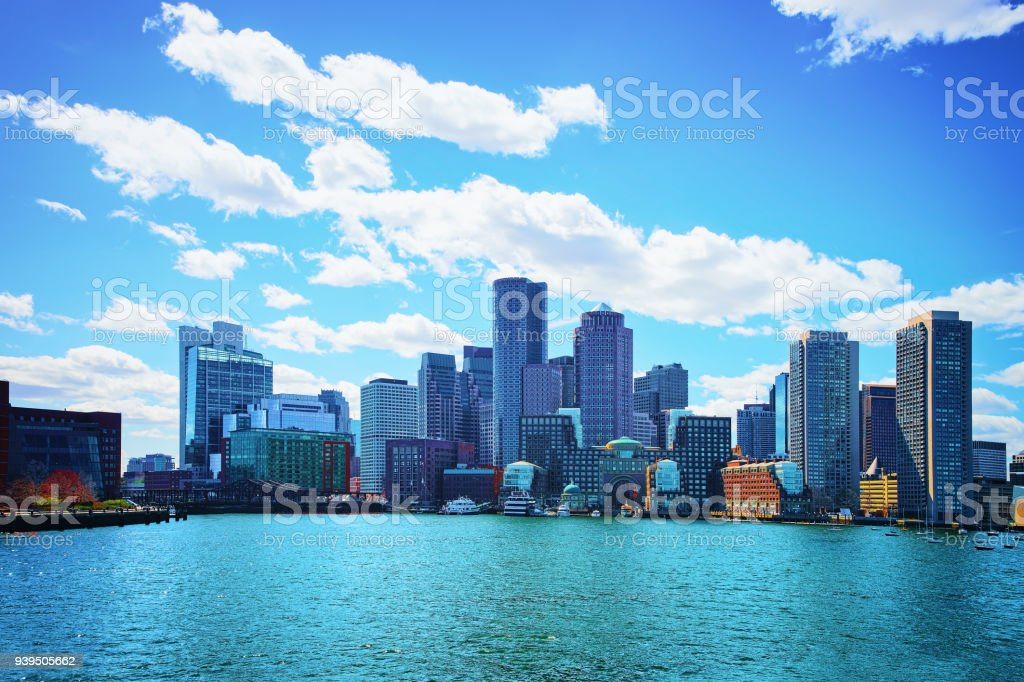 Skyline of center of Boston USA stock photo
