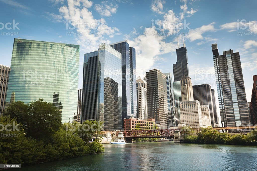 Skyline of Chicago Skyscrapers Along the River Front Hz stock photo