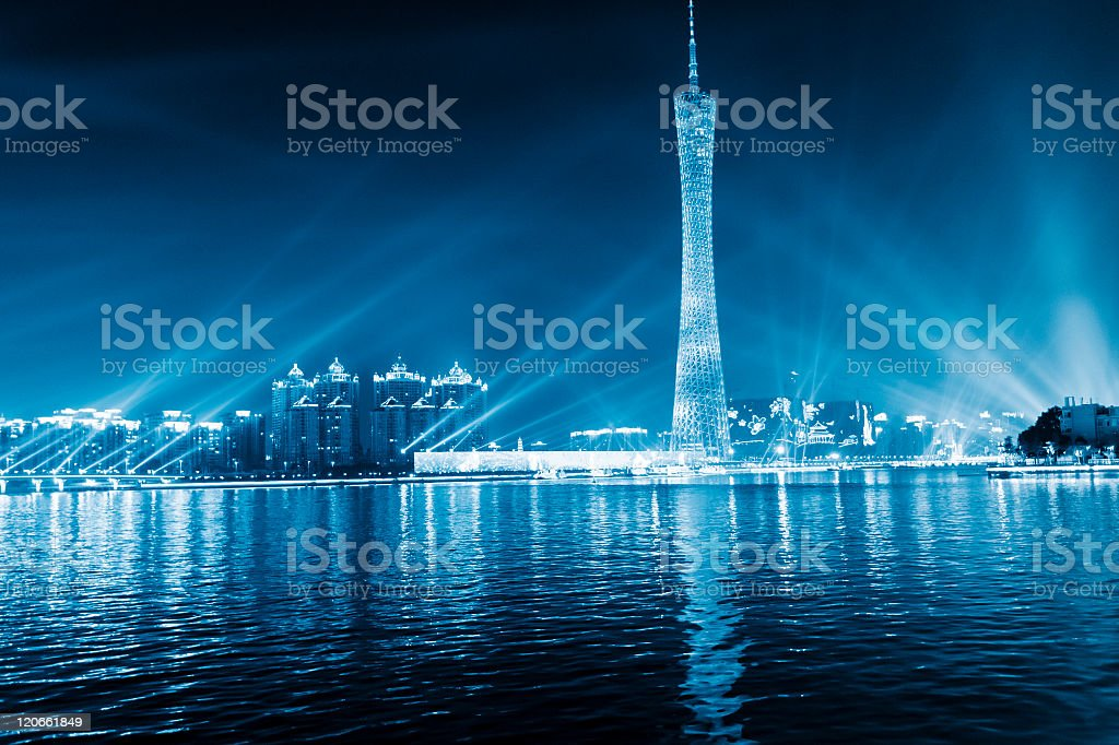 skyline of city at night royalty-free stock photo