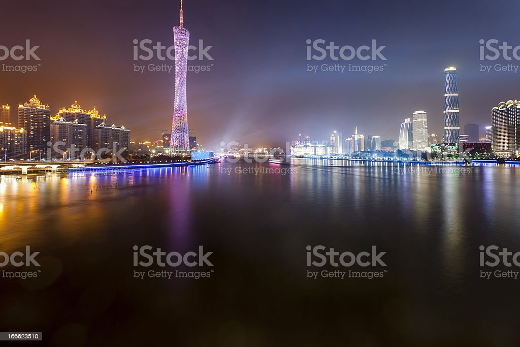 skyline of city at night royalty-free stock photo