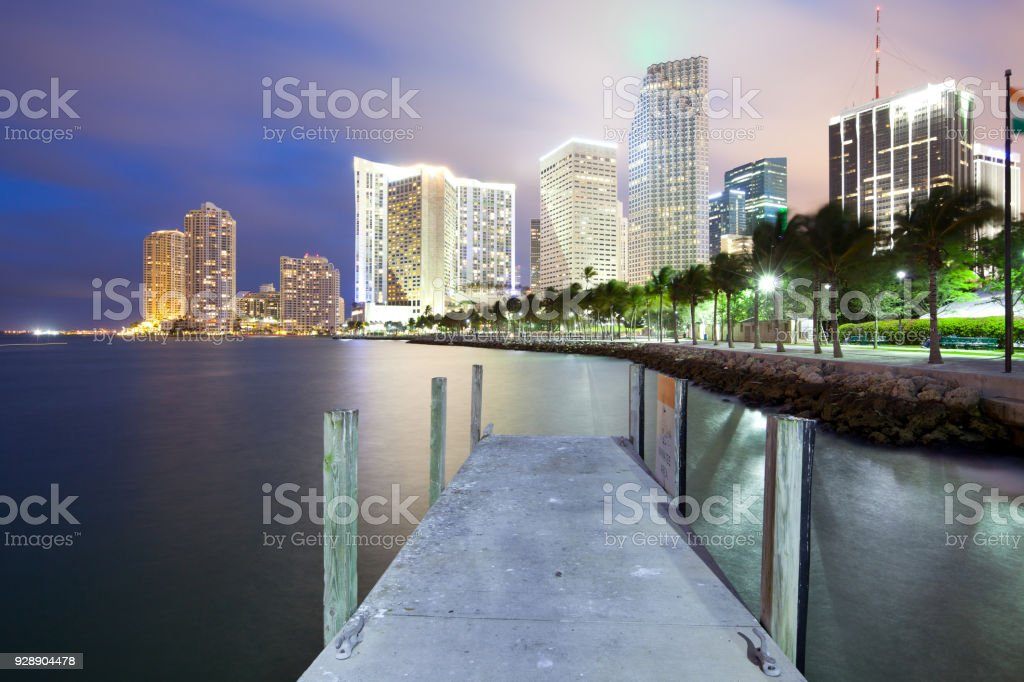 Skyline of city downtown and Brickell Key in Miami stock photo