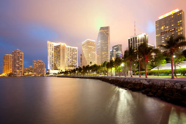 Skyline of city downtown and Brickell Key stock photo