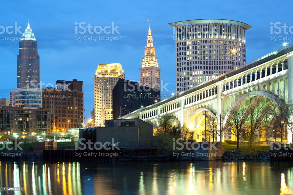 skyline of Cleveland at night stock photo