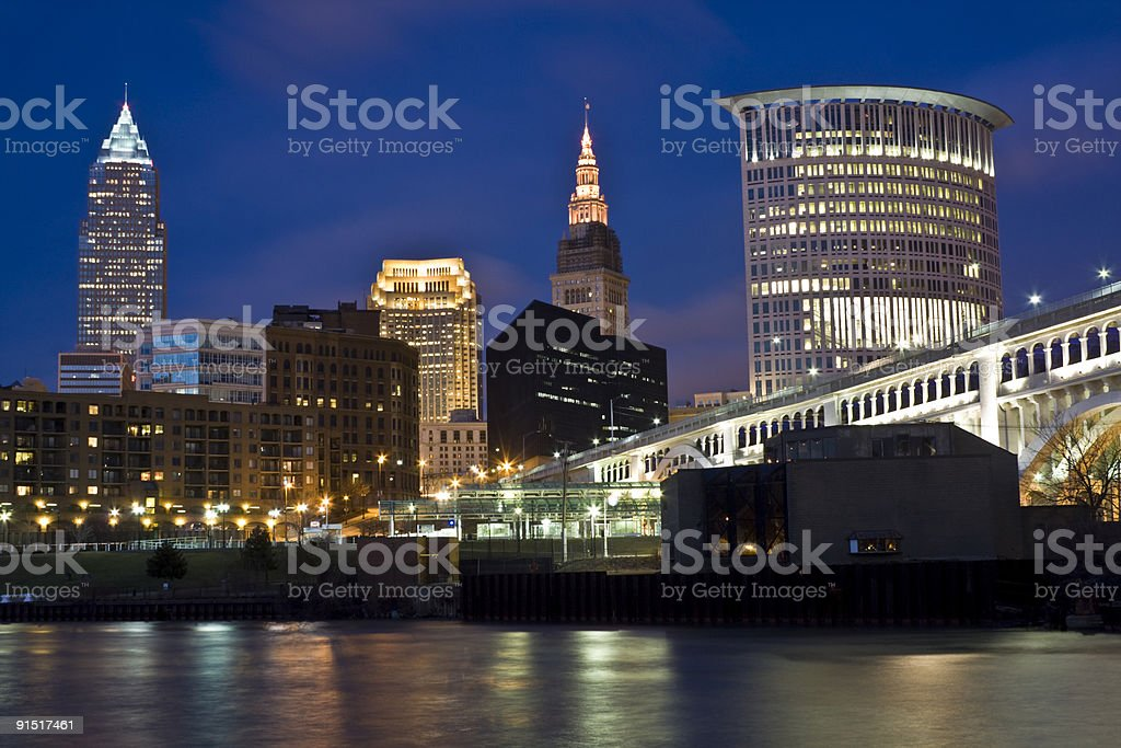 Skyline of Cleveland stock photo