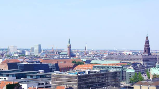 Skyline of Copenhagen from Vor Frelsers Kirke Church of Our Saviour stock photo