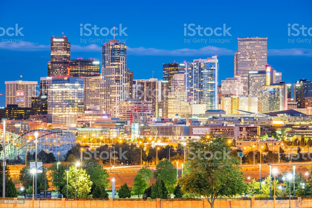 Skyline of Denver Colorado USA stock photo