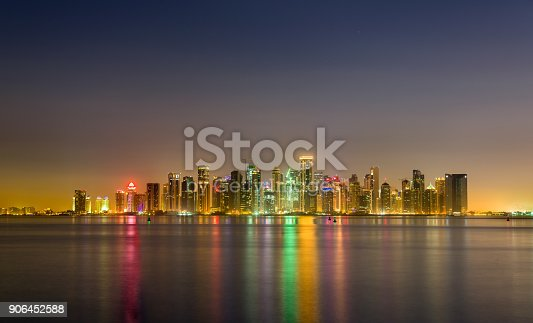 istock Skyline of Doha at night. The capital of Qatar 906452588