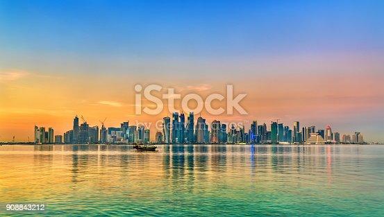 istock Skyline of Doha at sunset. The capital of Qatar 908843212