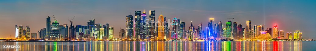 istock Skyline of Doha at sunset. The capital of Qatar 908843400
