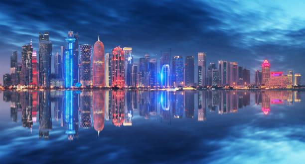 Skyline of Doha, Qatar during night stock photo