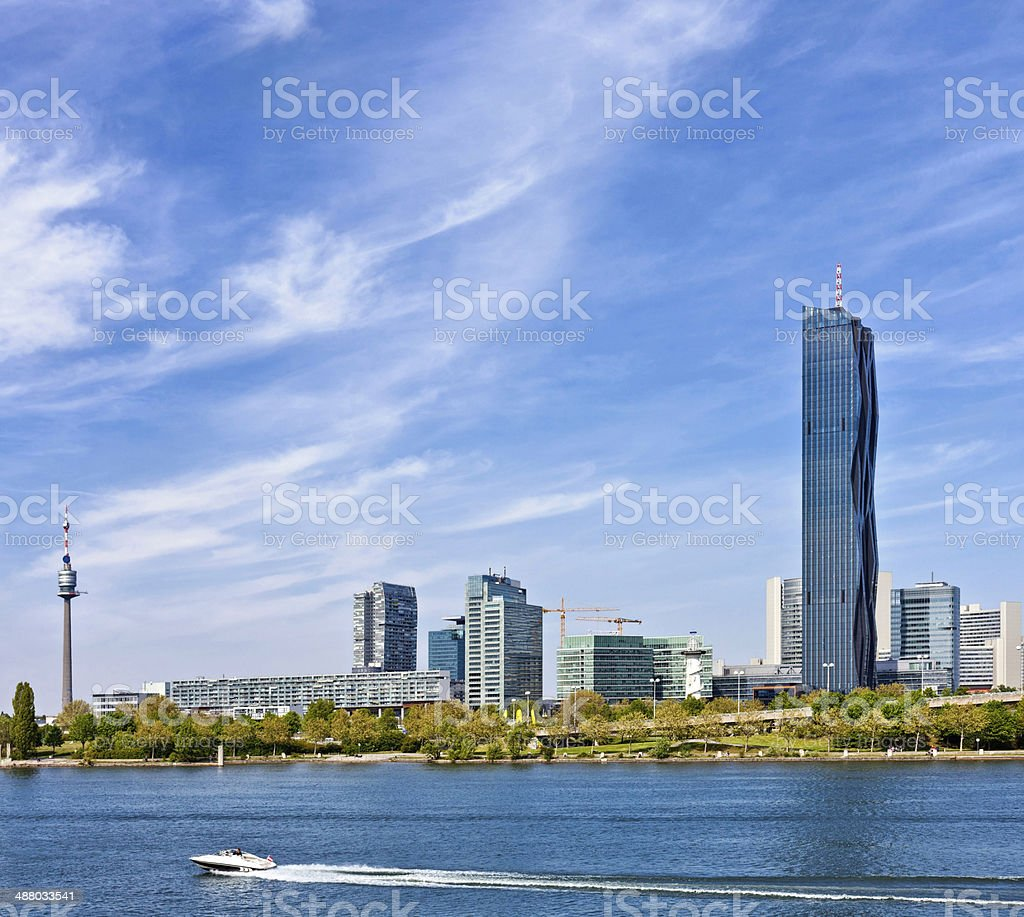 Skyline of Donau City Vienna and the new DC-Tower stock photo