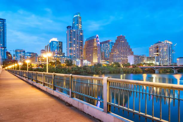 Skyline of downtown Austin Texas USA stock photo