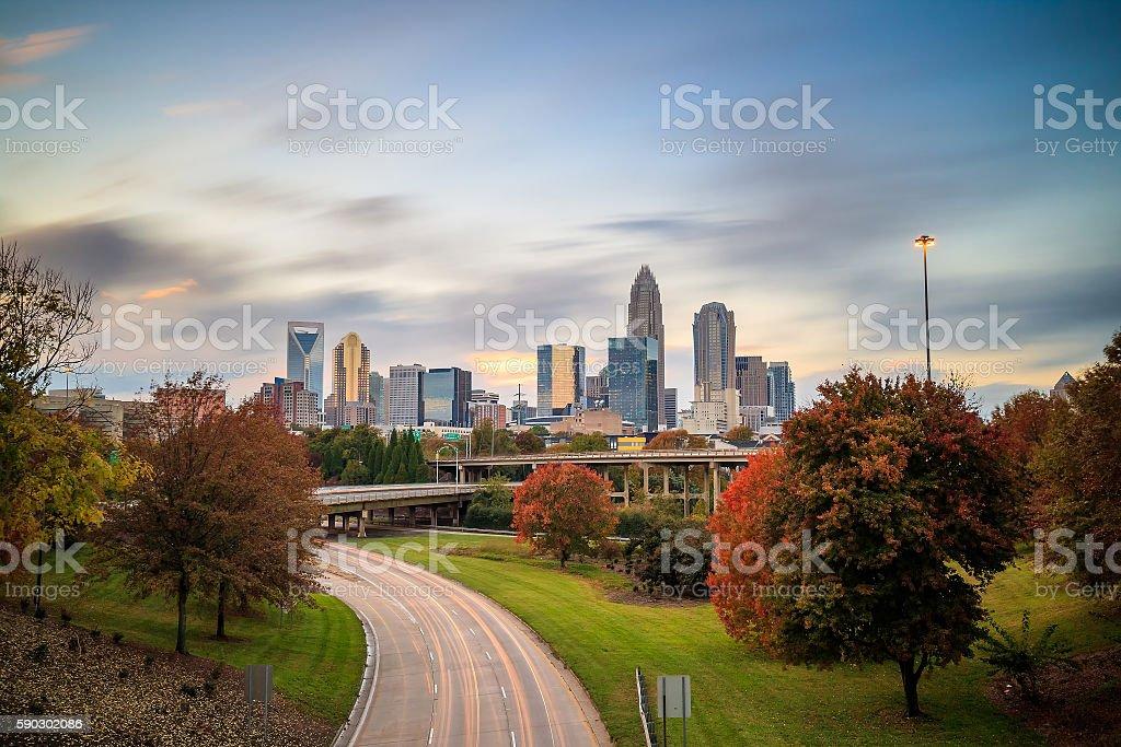Skyline of downtown Charlotte in north carolina royaltyfri bildbanksbilder