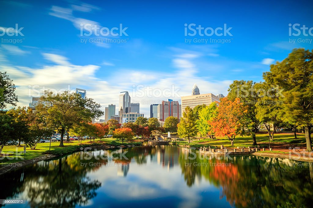 Skyline of downtown Charlotte in north carolina royaltyfri bildbanksbilder