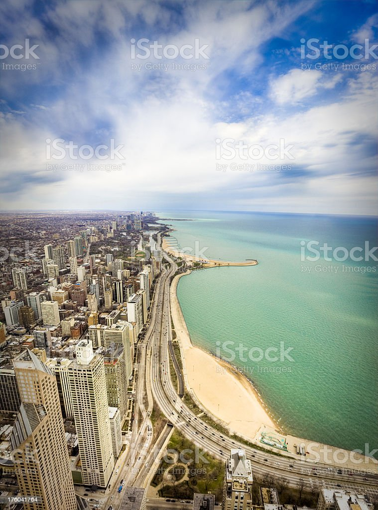 Skyline of Downtown Chicago and Lake Michigan stock photo