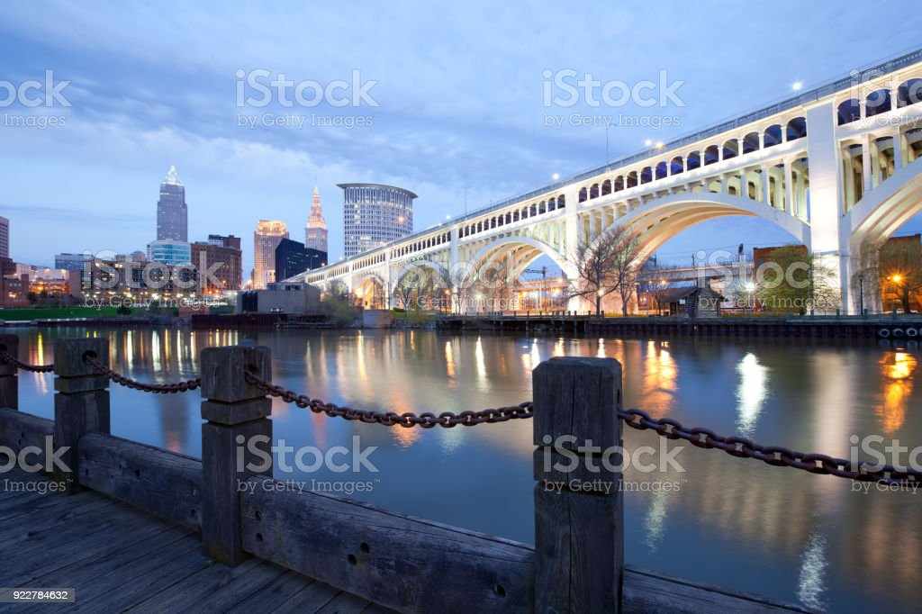 Skyline of downtown Cleveland and Detroit Superios Bridge stock photo