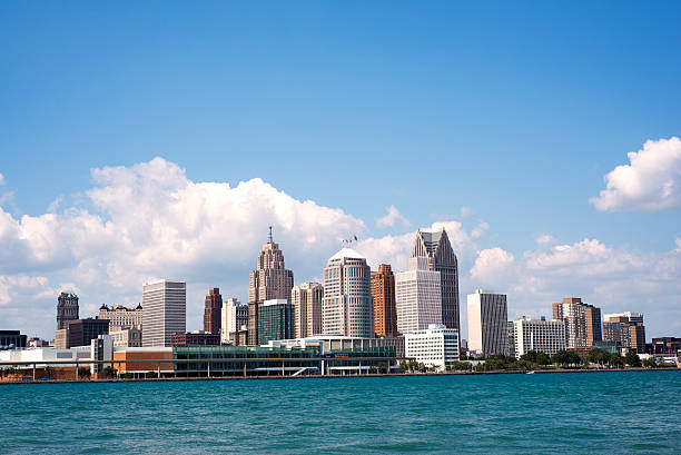 Skyline of downtown Detroit stock photo