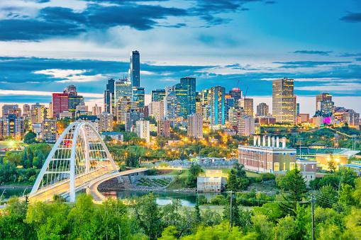 Skyline of downtown Edmonton Alberta Canada at twilight blue hour.