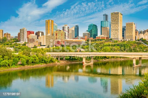 Skyline of downtown Edmonton Alberta Canada and the North Saskatchewan River in the morning.