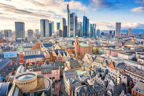 Skyline of downtown Frankfurt am Main Germany stock photo