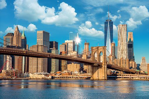 Skyline of downtown New York, Brooklin Bridge and  Manhattan at the early morning sun light , New York City, USA