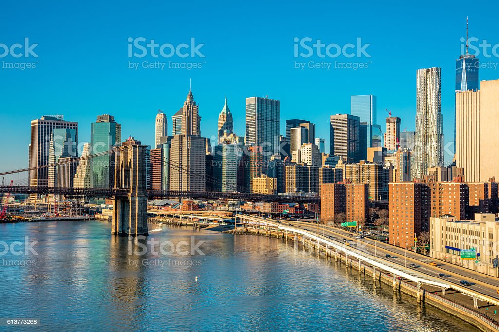Skyline of downtown New York, Manhattan,  New York City stock photo