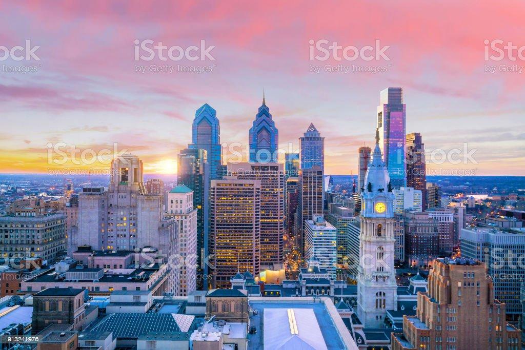 Skyline of downtown Philadelphia at sunset stock photo