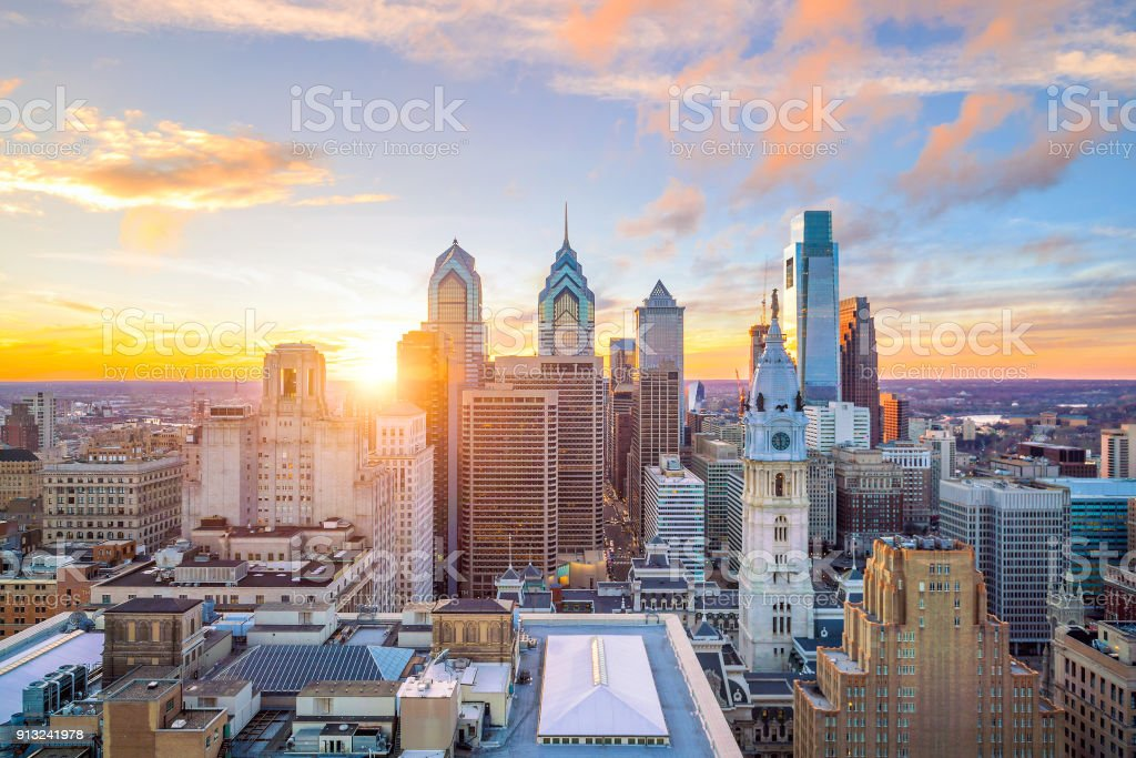 Skyline of downtown Philadelphia at sunset stock photo