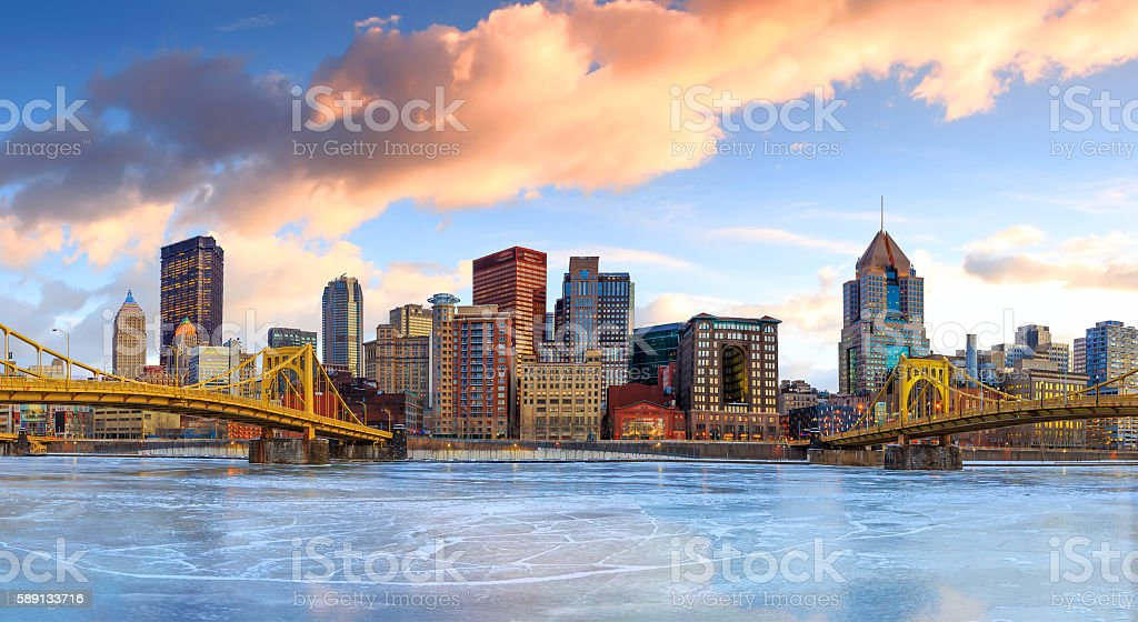 Skyline of downtown Pittsburgh at twilight stock photo