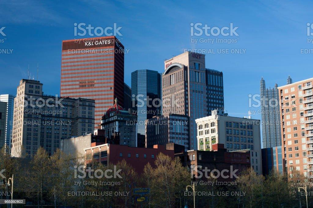 Skyline of downtown Pittsburgh - Zbiór zdjęć royalty-free (Architektura)