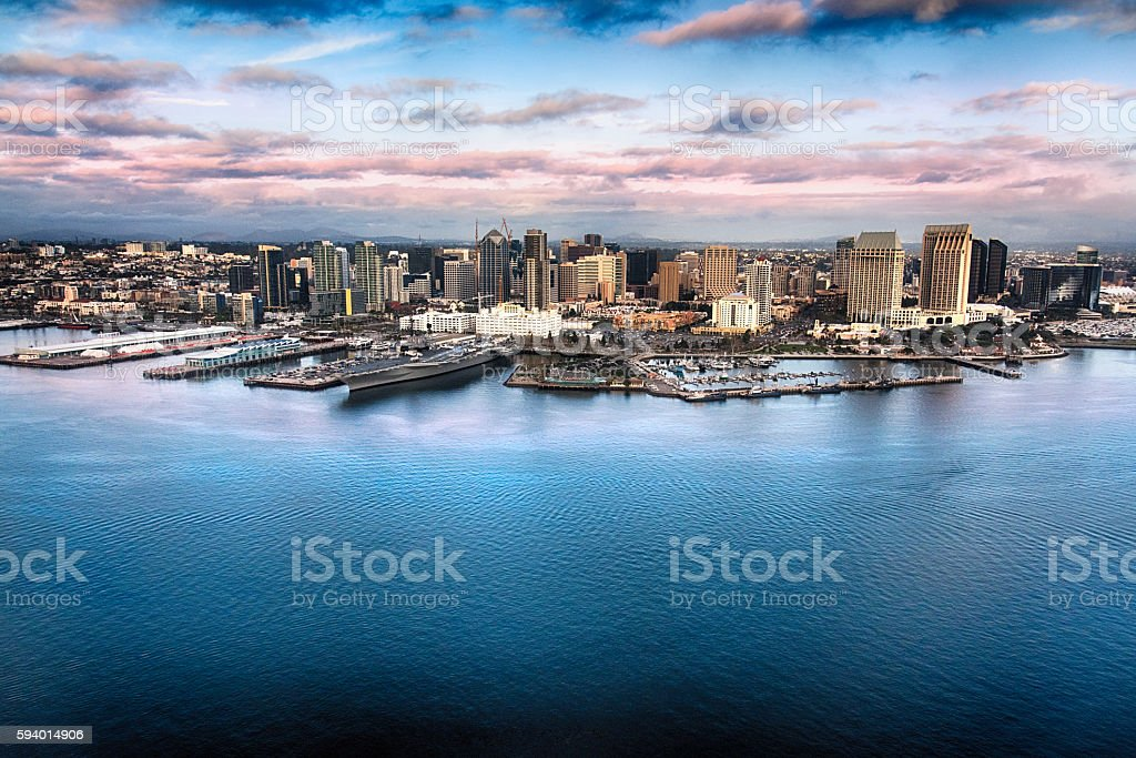 Skyline of Downtown San Diego From Over the Bay stock photo